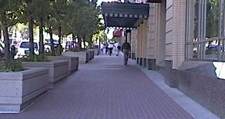 A sidewalk on the city streets of Salt Lake, where they walk.